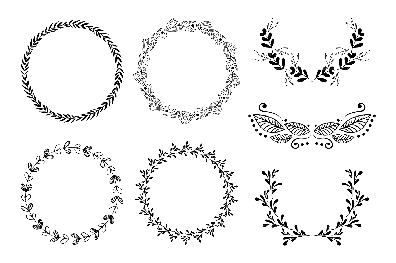 Wreaths Clipart, Hand drawn black design elements, Digital wreath, laurels, leaves and branches, Wedding clipart, Vector example image 2