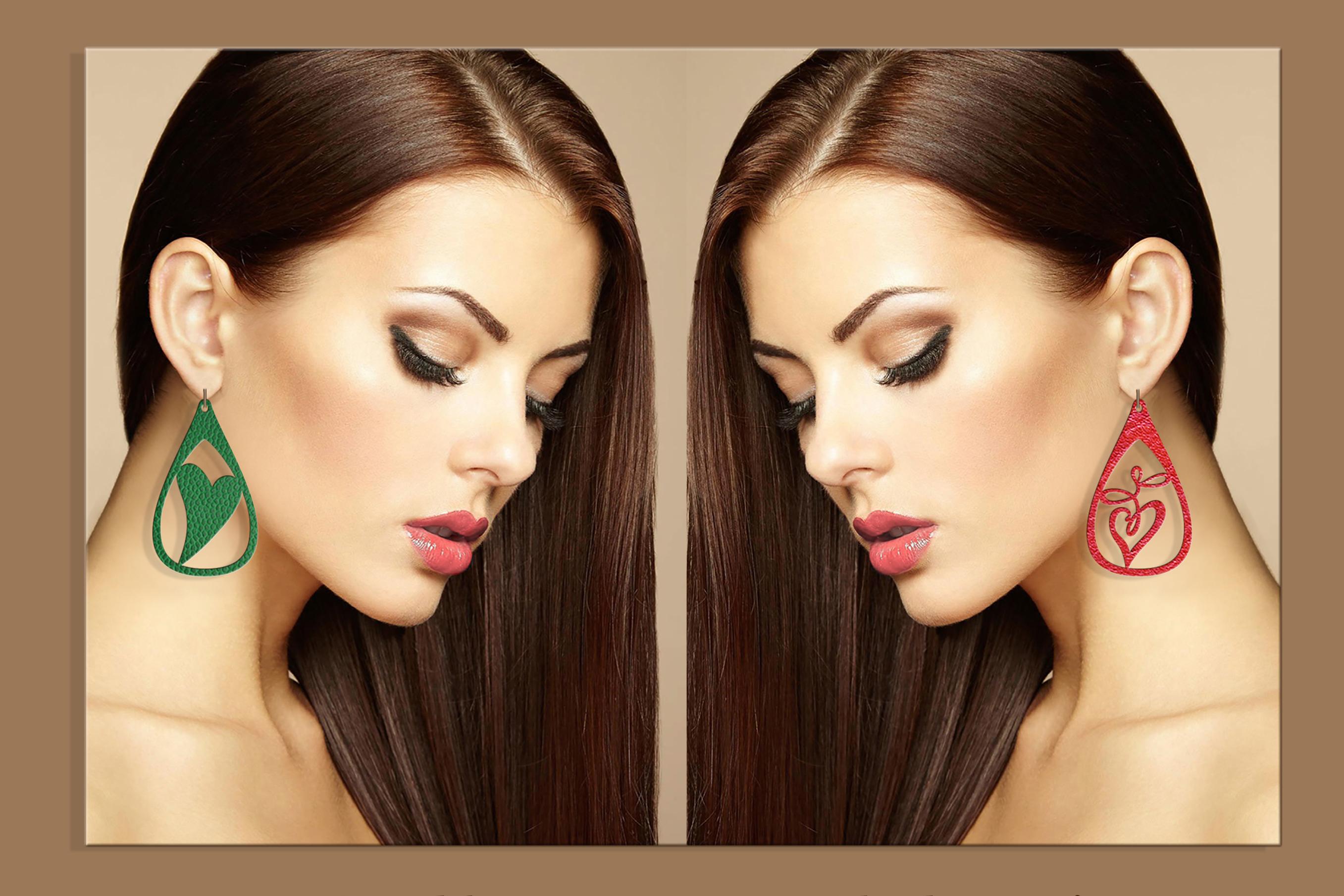 50 Leather earring bundle svg Valentine Love svg Heart example image 7
