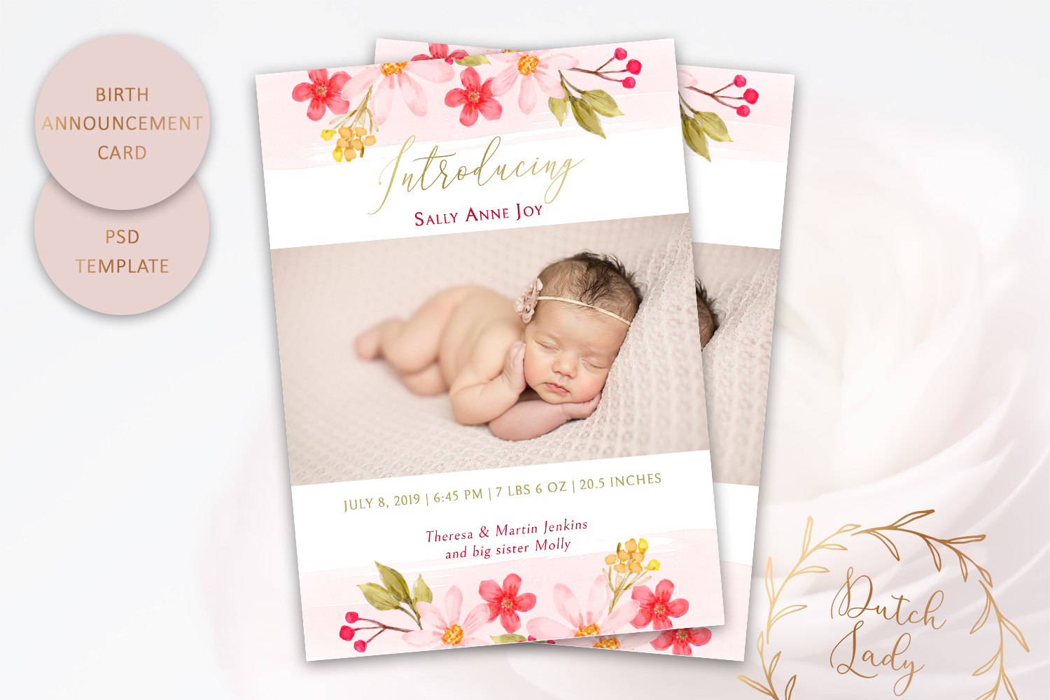 PSD Birth Announcement Card Template - Design #5 example image 1