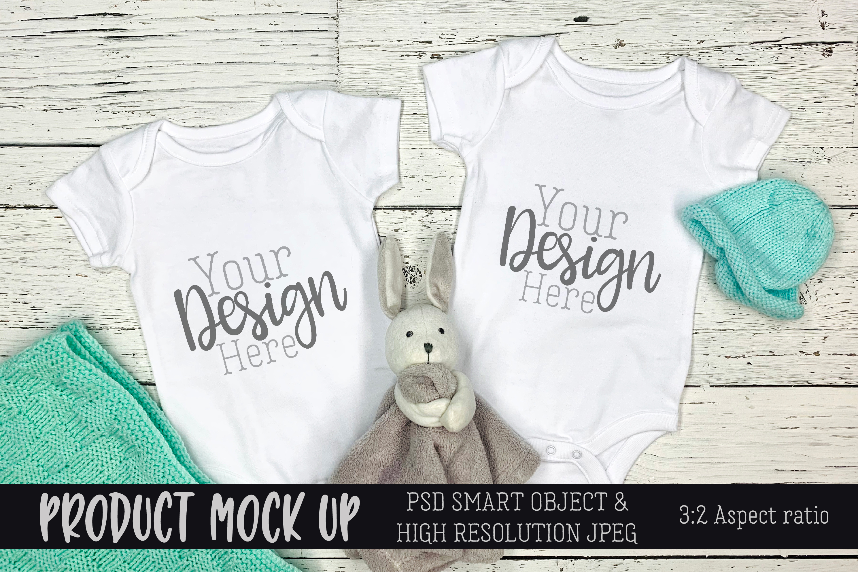 Twins blue baby bodysuit Craft mock up | PSD & JPEG example image 1