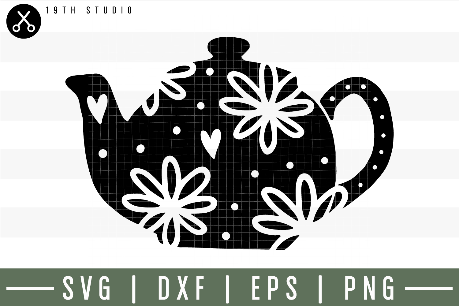 Floral tea pot SVG| Tea SVG example image 1