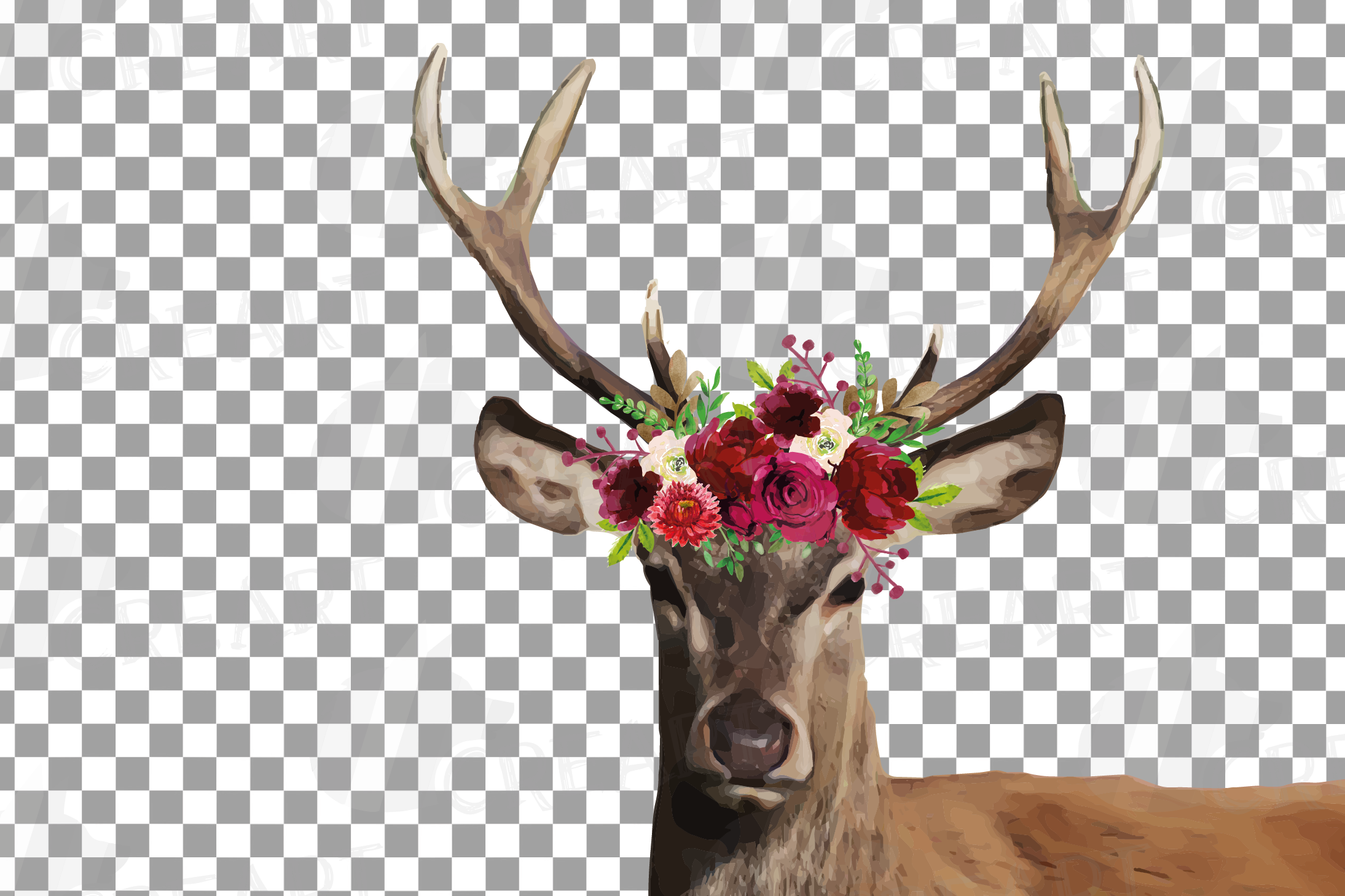 Deer couple with floral burgundy crown match shirt clip art example image 6