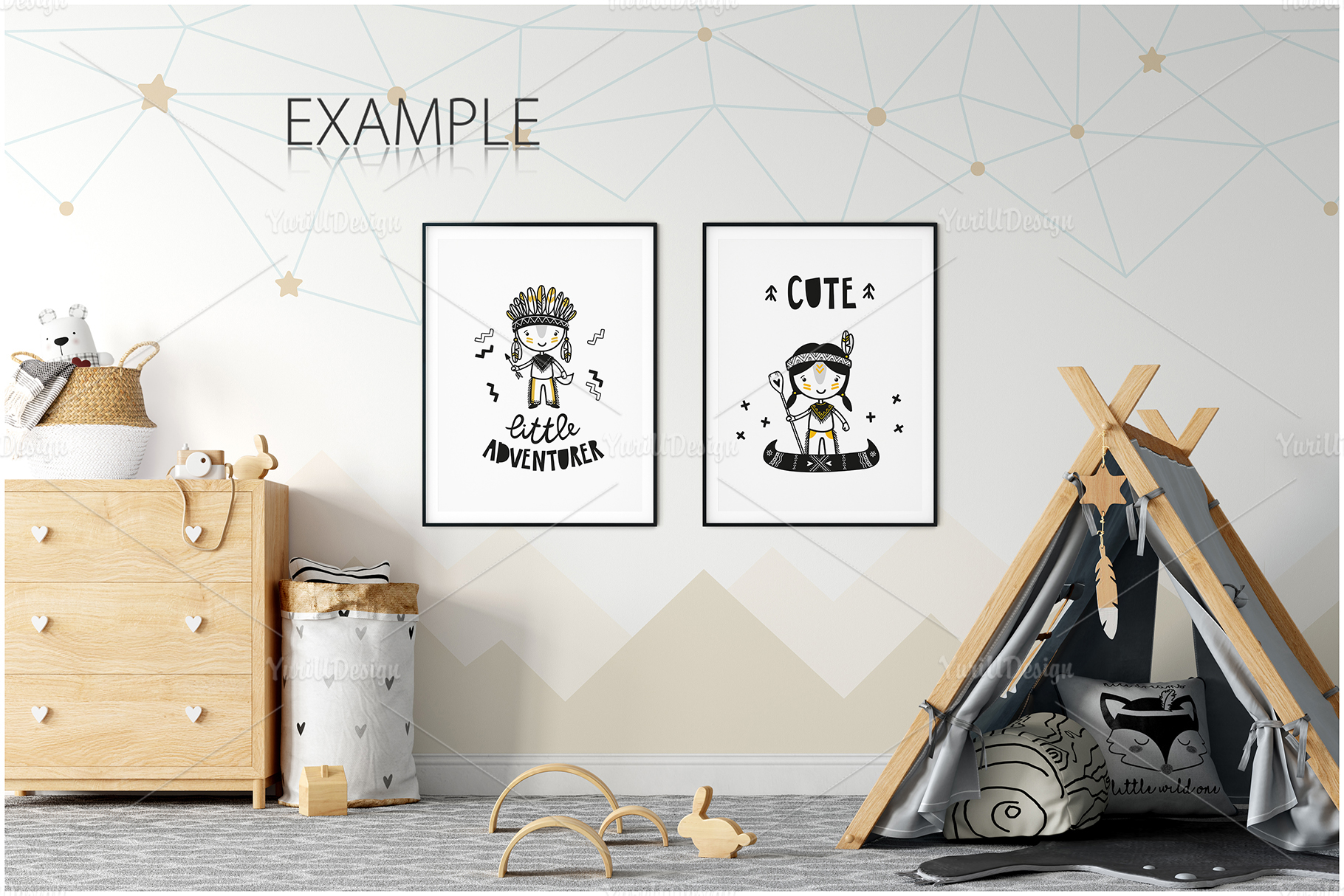 Kids Frames & Wall Mockup Bundle - 5 example image 8