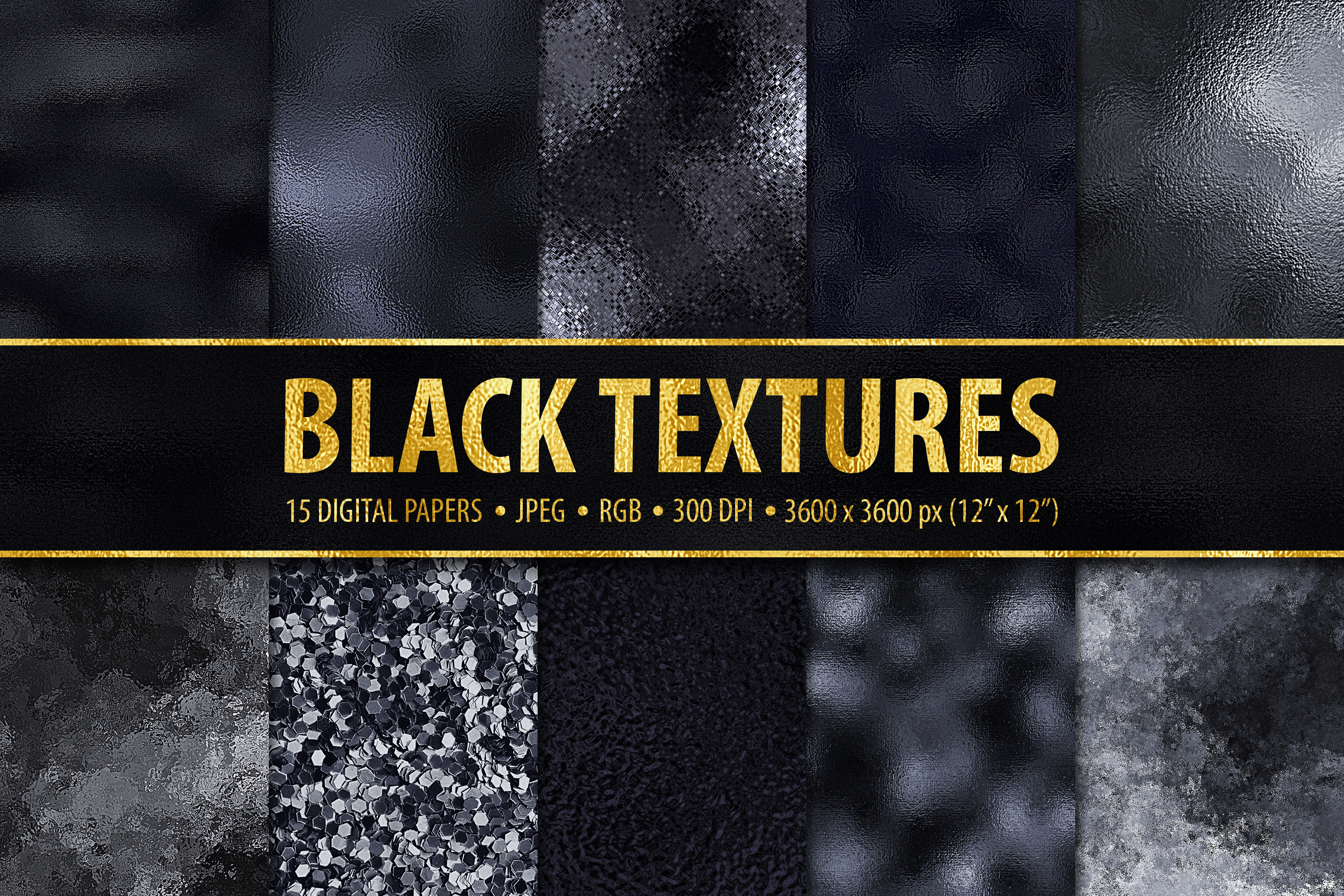 15 Black Metallic, Foil and Glitter Digital Papers example image 1
