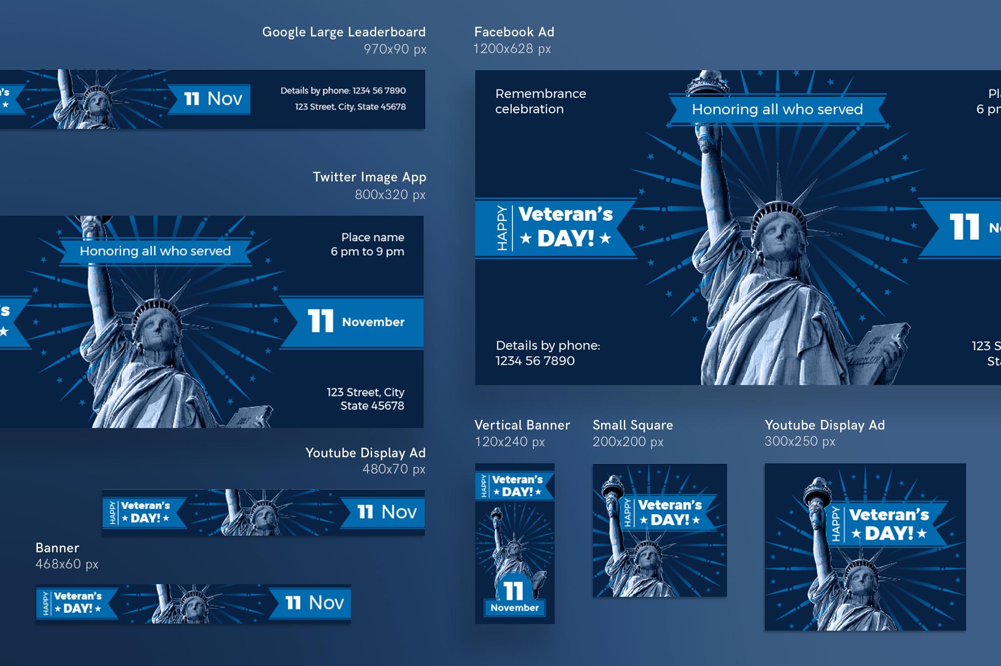 Veteran's Day Celebration Design Templates Bundle example image 6
