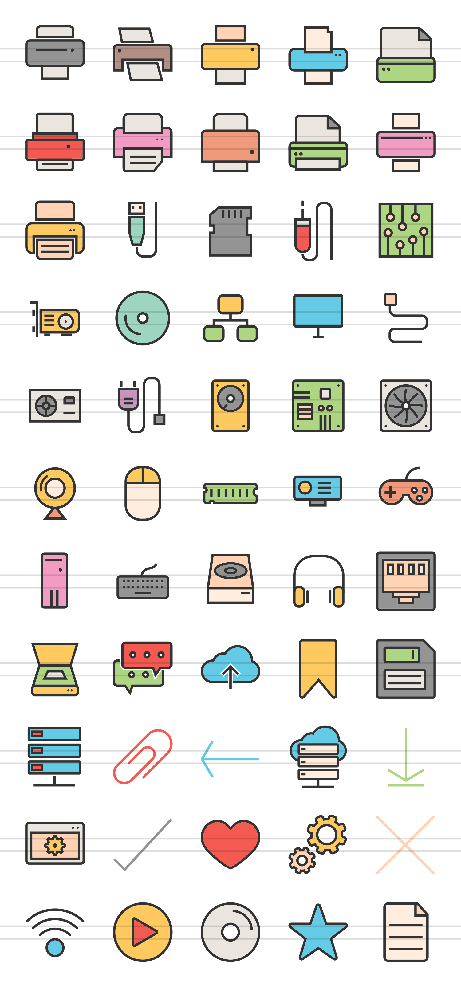 55 Computer & hardware Filled Line Icons example image 2