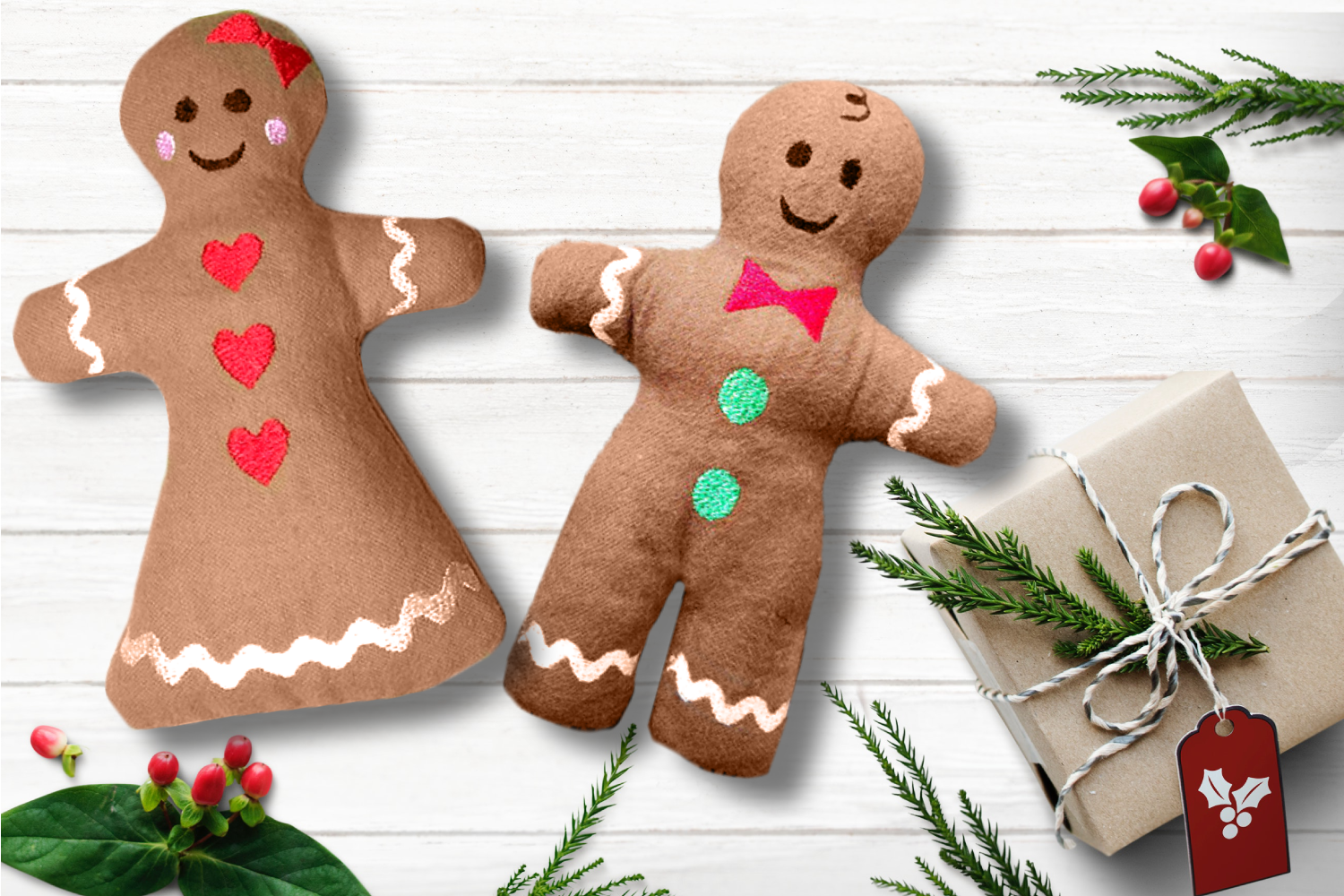 Gingerbread Plush Toy in the Hoop ITH Embroidery Set example image 1