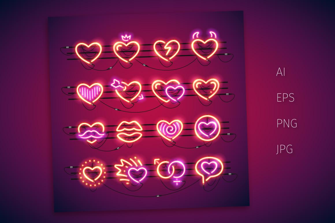 Valentine Neon Hearts example image 2