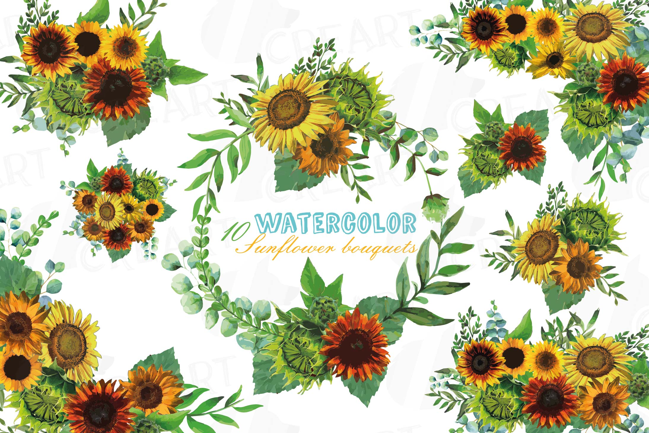 Watercolor sunflower bouquets and design elements example image 1