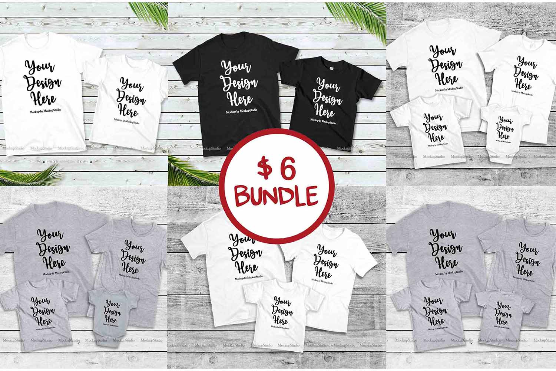 Family Tshirt Mockup Bundle, Kids Shirt Mock Up Bundle Set example image 1