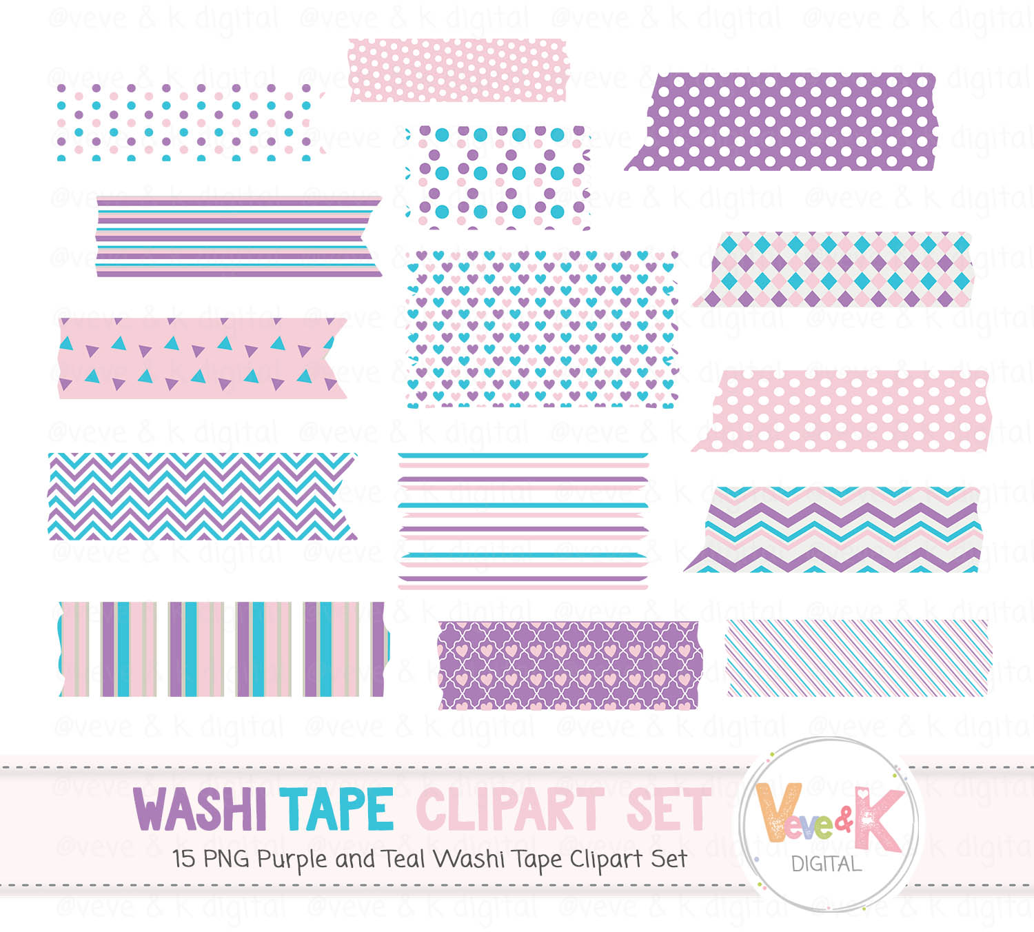 Purple And Teal Washi Tape Clip Art Washi Tape Clipart