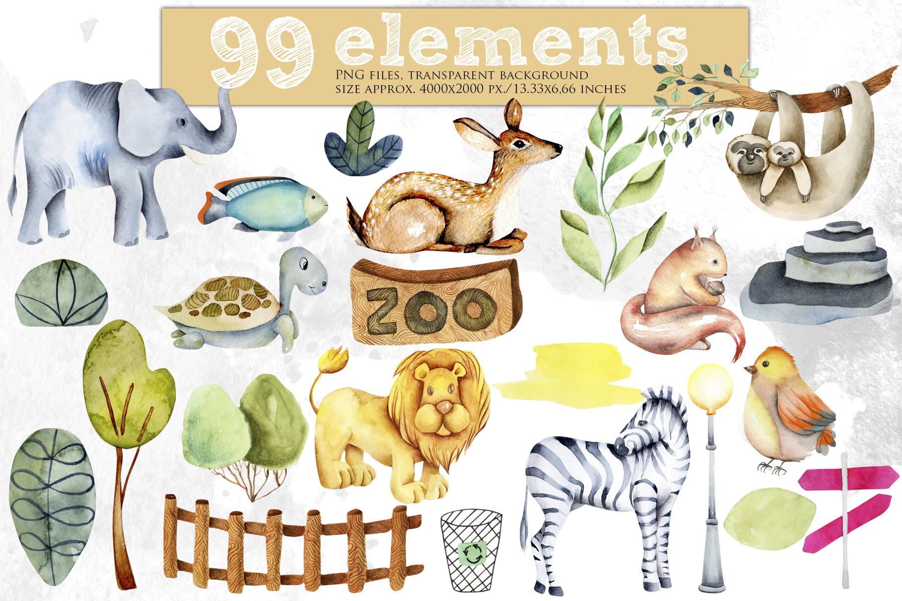 Zoo. Big watercolor collection. example image 2