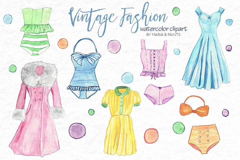 Watercolor Clip Art - Vintage Fashion example image 2