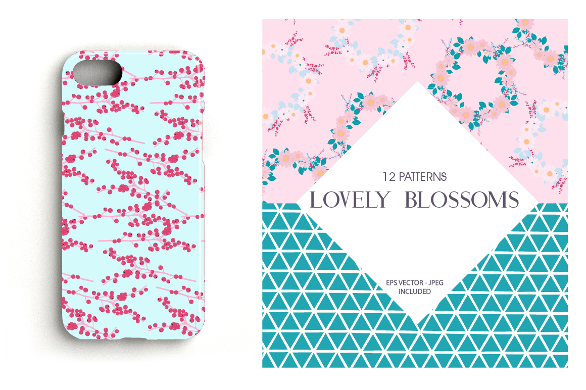 Lovely Blossoms Pattern collection, vector ai, eps and jpeg example image 4