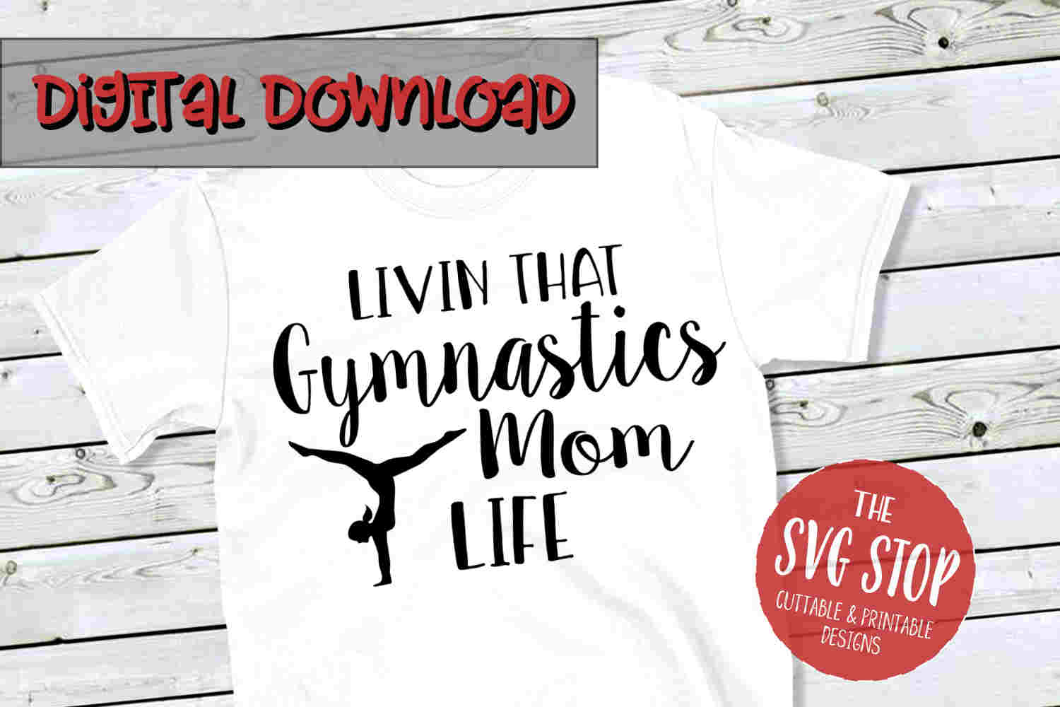 Gymnastics Mom Life -SVG, PNG, DXF example image 1