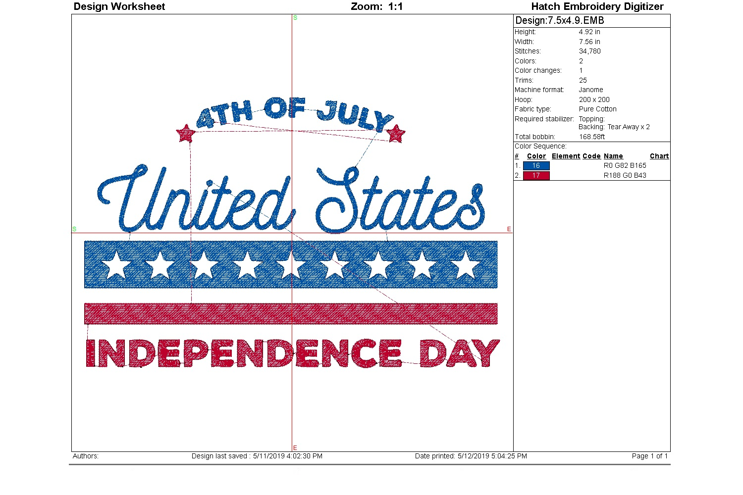 July 4th Embroidery | Independence day | Machine embroidery| example image 6