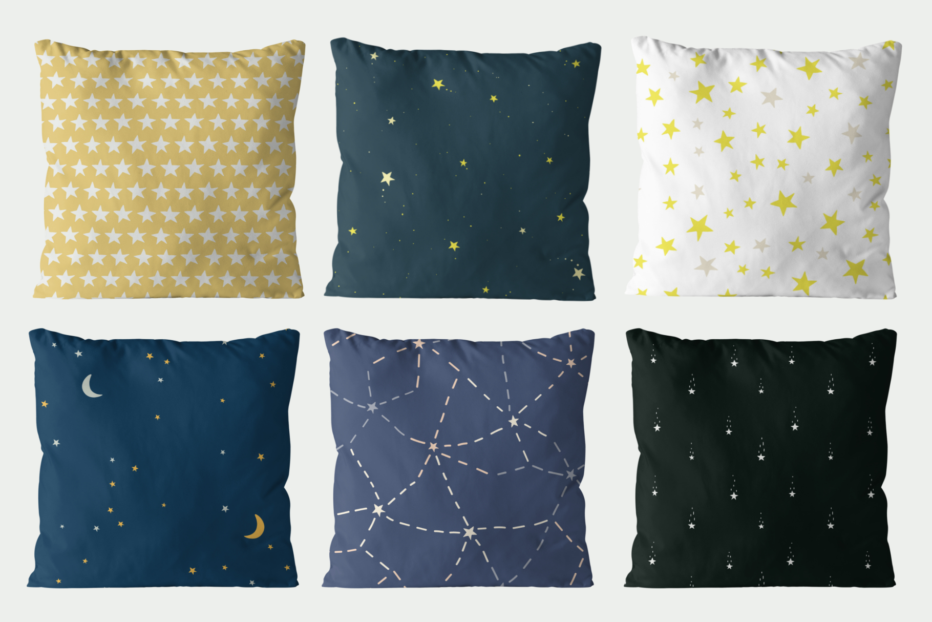 Starry sky seamless patterns set example image 3