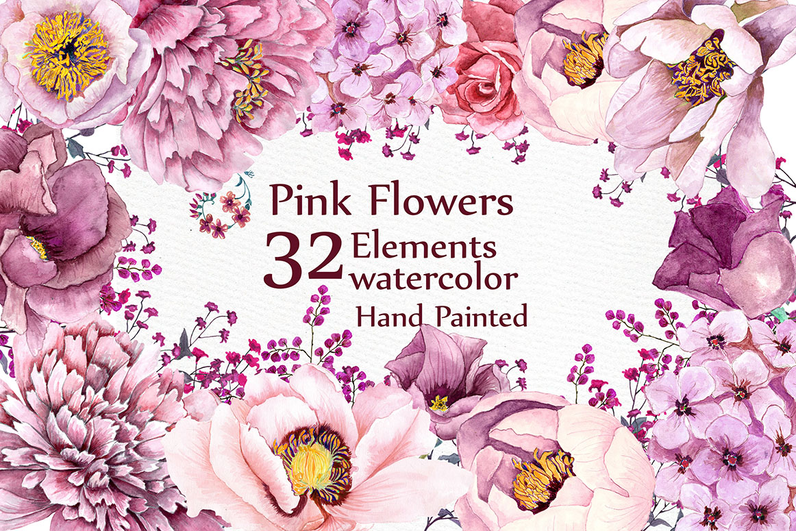 Pink watercolor flowers clipart example image 1