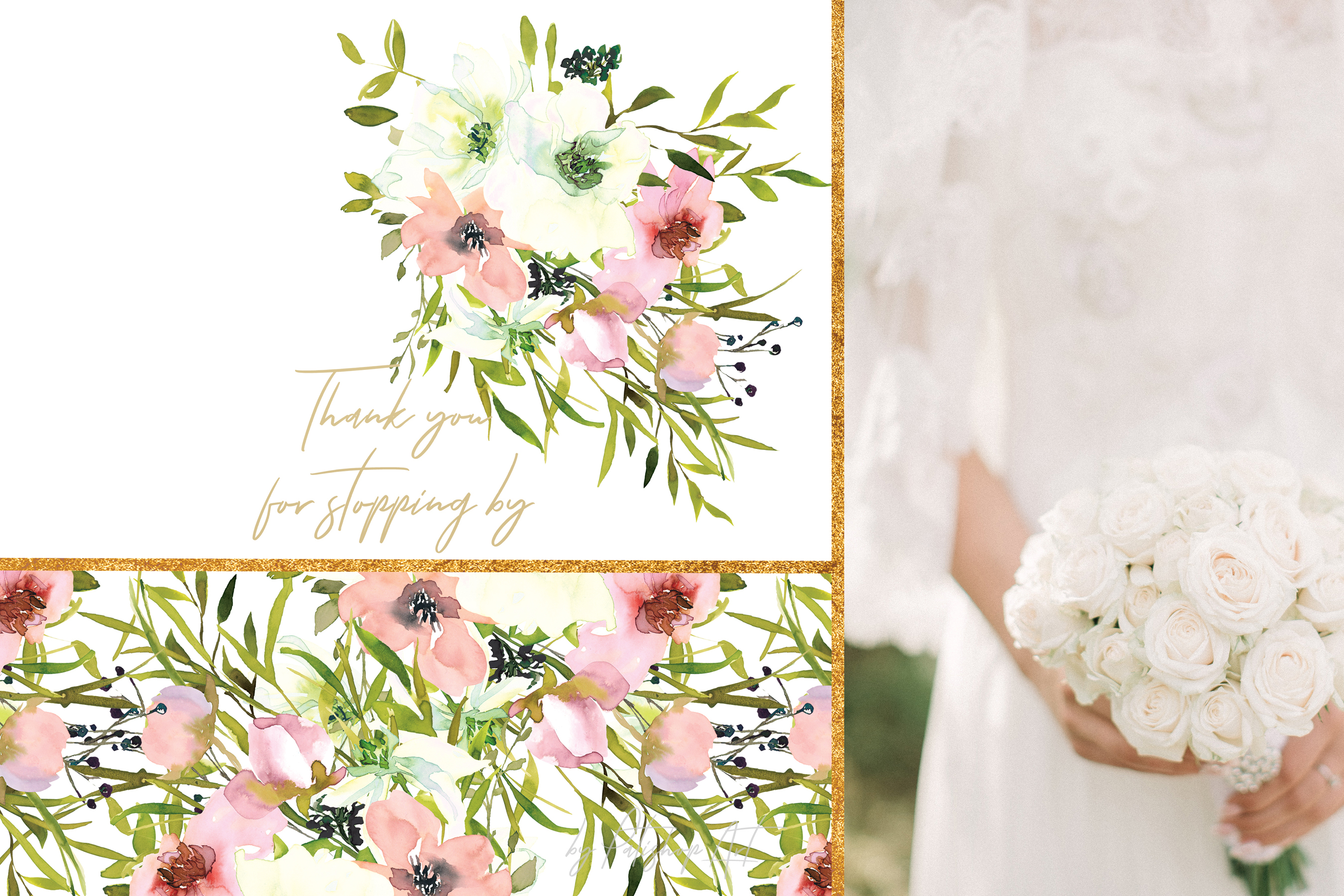 Watercolor Blush and White Florals Clipart Seamless Pattern example image 7