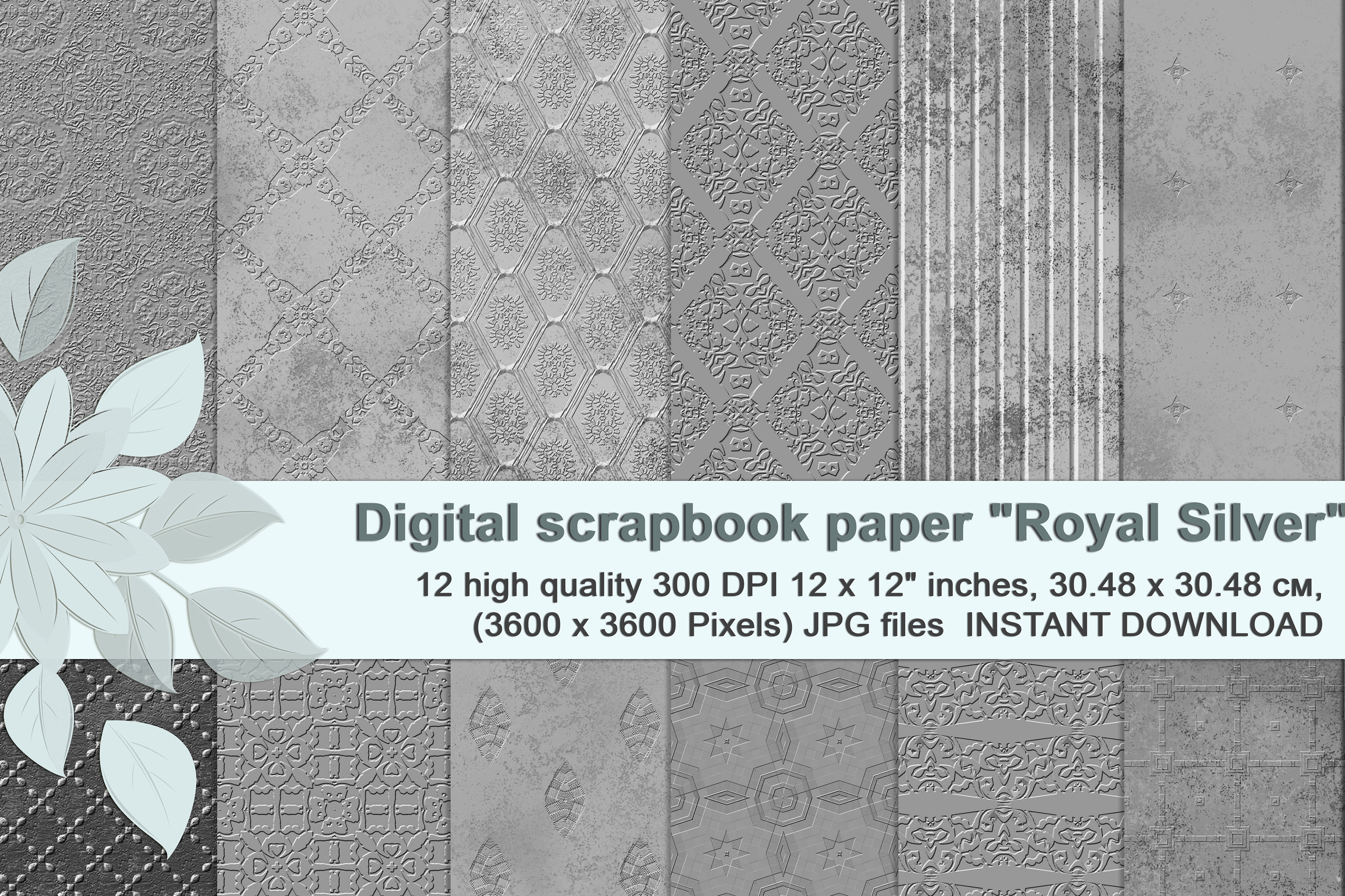 Royal Silver textures, digital Printable Scrapbook Paper example image 1