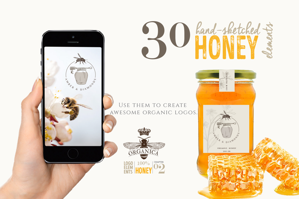ORGANIC LOGO ELEMENTS  HONEY example image 2