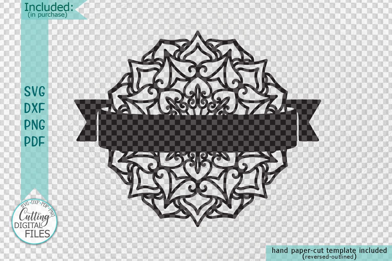 Mandala Monogram frame bundle split circle ribbon svg cut example image 2