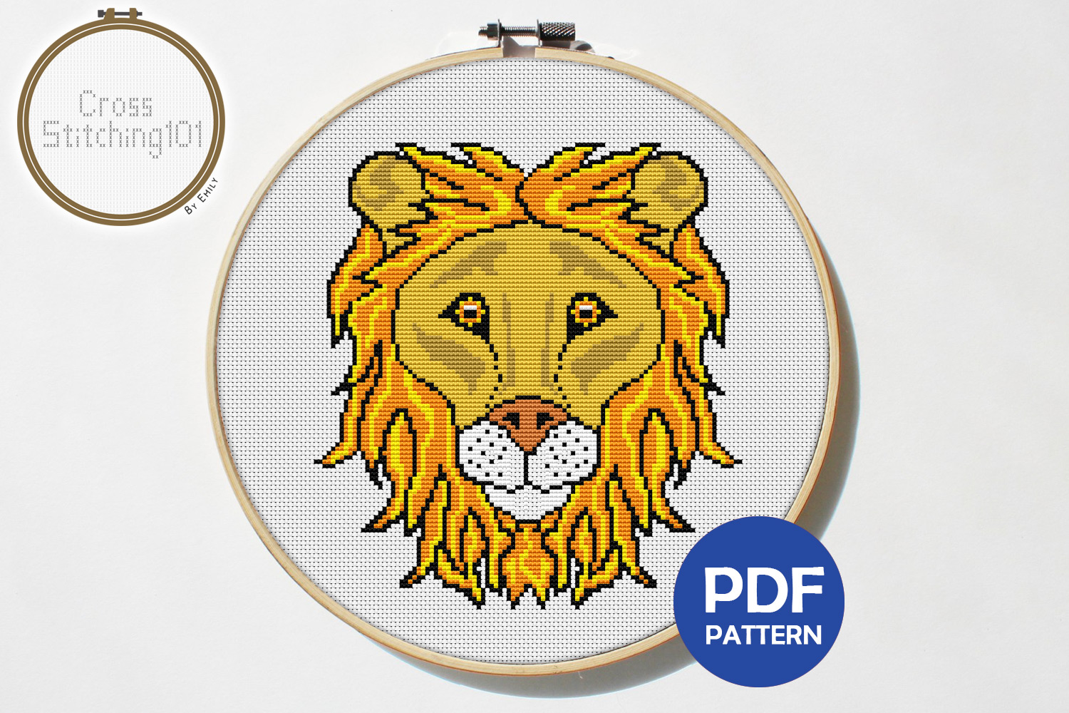 Lion Face Cross Stitch Pattern - Instant Download PDF example image 1