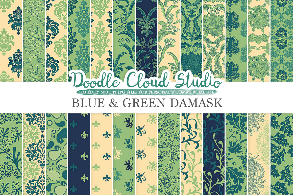 Blue and Green Damask digital paper, Swirls patterns, Digital Floral Damask, Cream backgrounds for Personal & Commercial Use example image 1