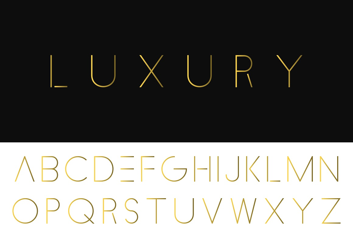 Luxury minimalistic alphabet. Gold font example image 1