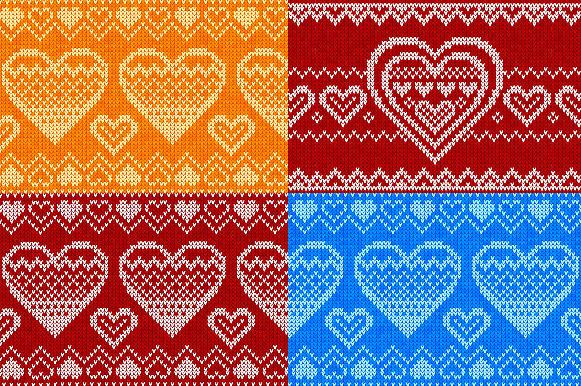 10 knitted hearts seamless patterns example image 4