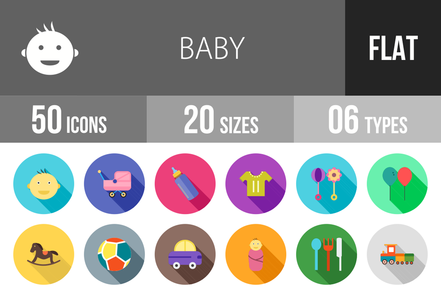 50 Baby Flat Long Shadow Icons example image 1