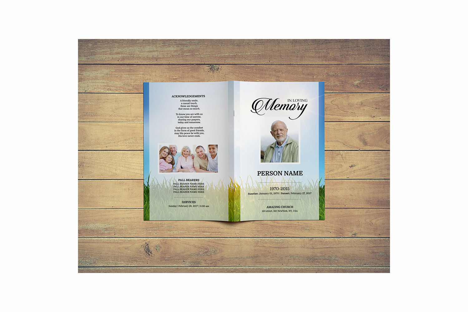 Sky and green Funeral Program Template example image 5