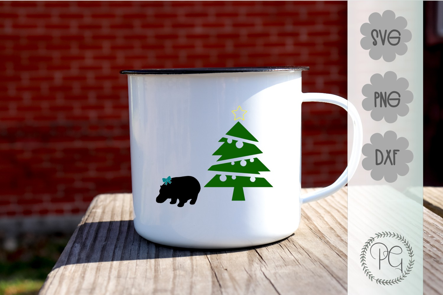 Hippo For Christmas SVG PNG DXF example image 1
