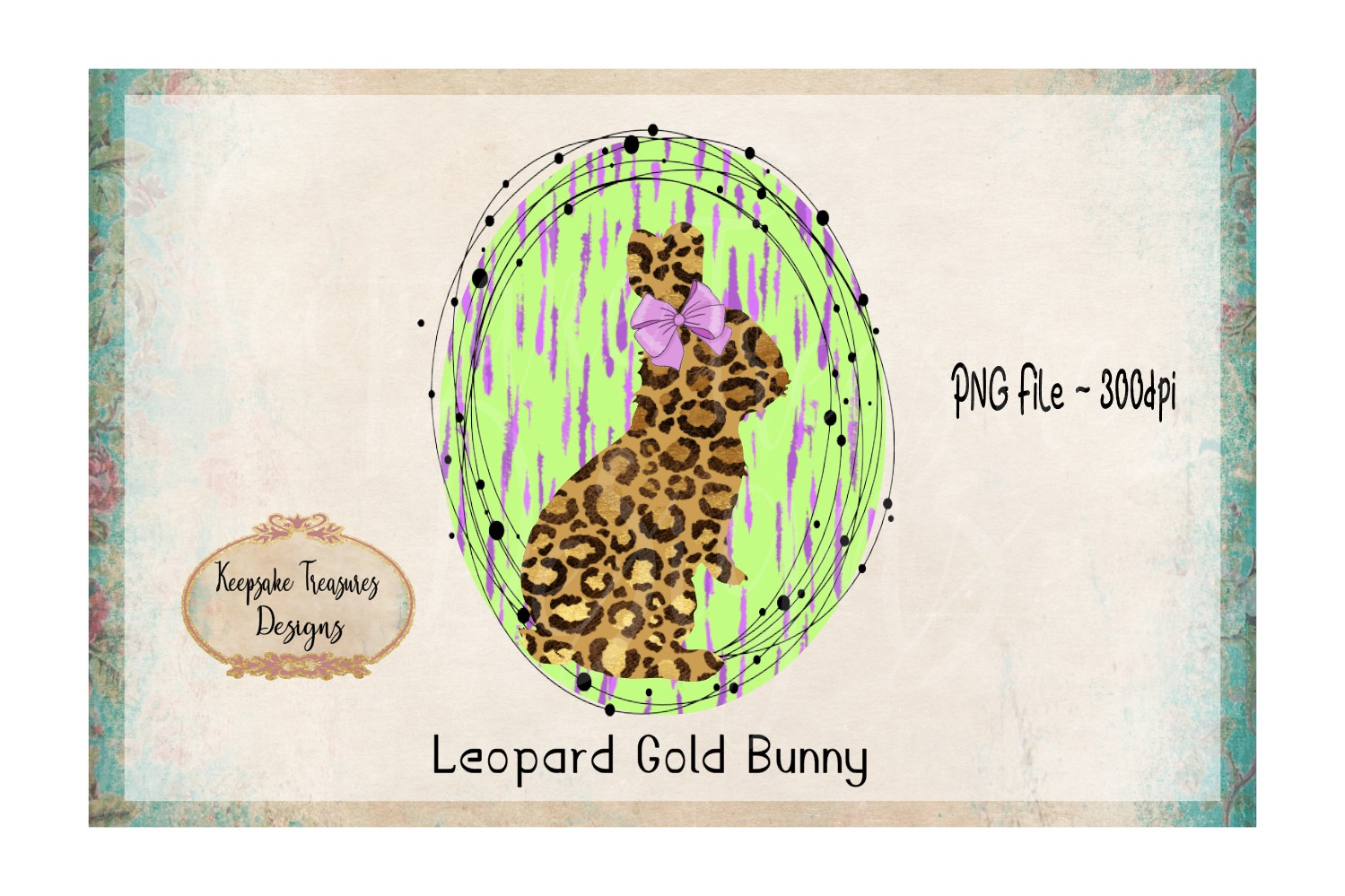 Leopard Gold Bunny Hand Drawn Frame example image 1