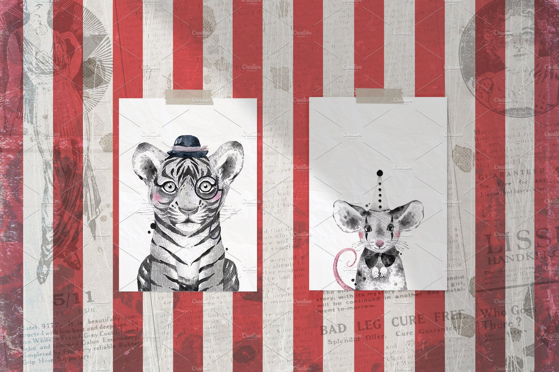 CIRCUS BABIES watercolor set example image 2