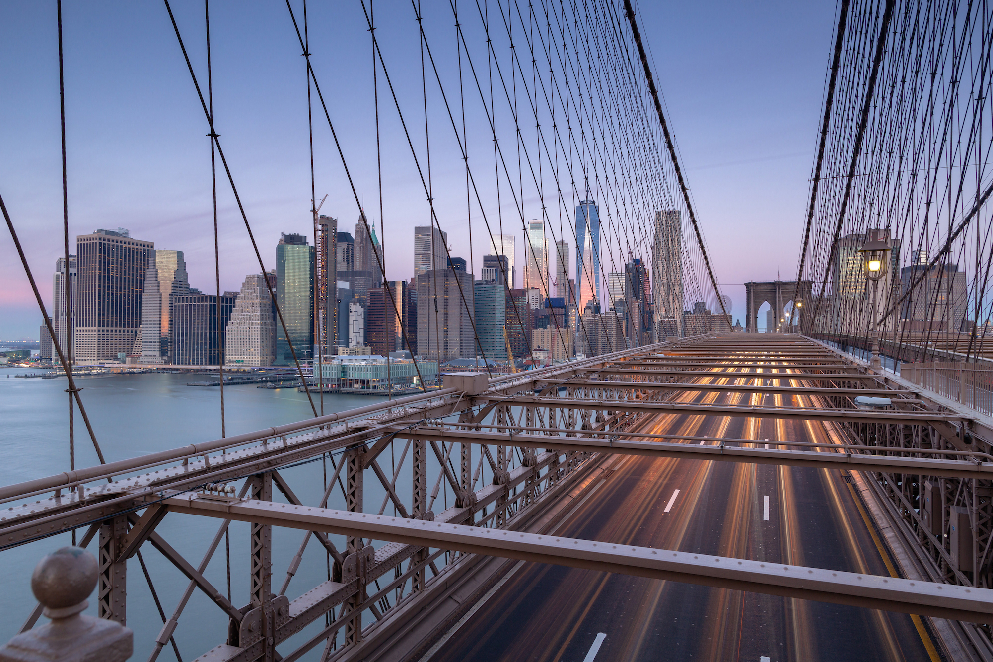 View from Brooklyn bridge at sunrise example image 1