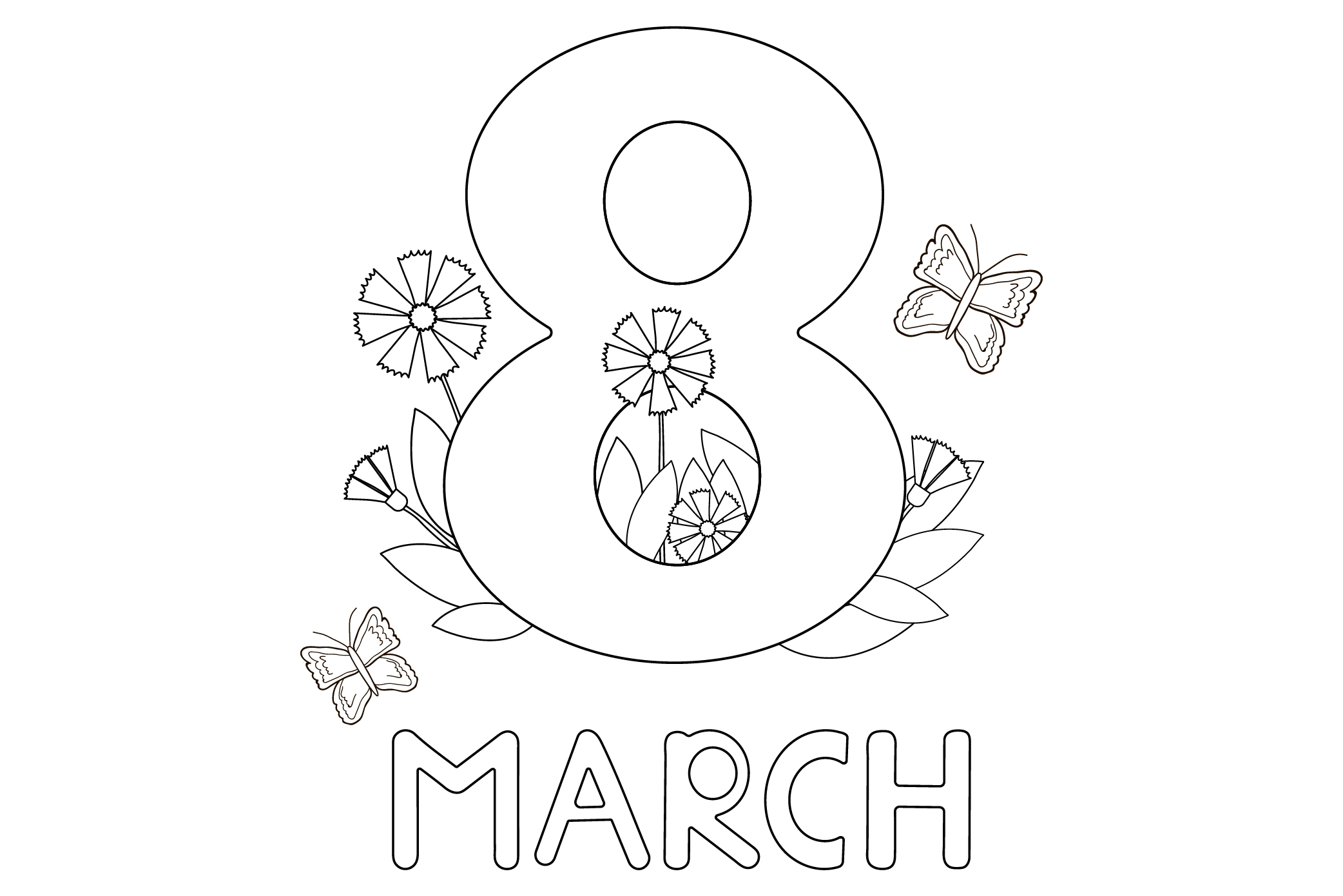 Women's day card. 8 of March. Coloring. Ai, eps, jpg, png, p example image 1