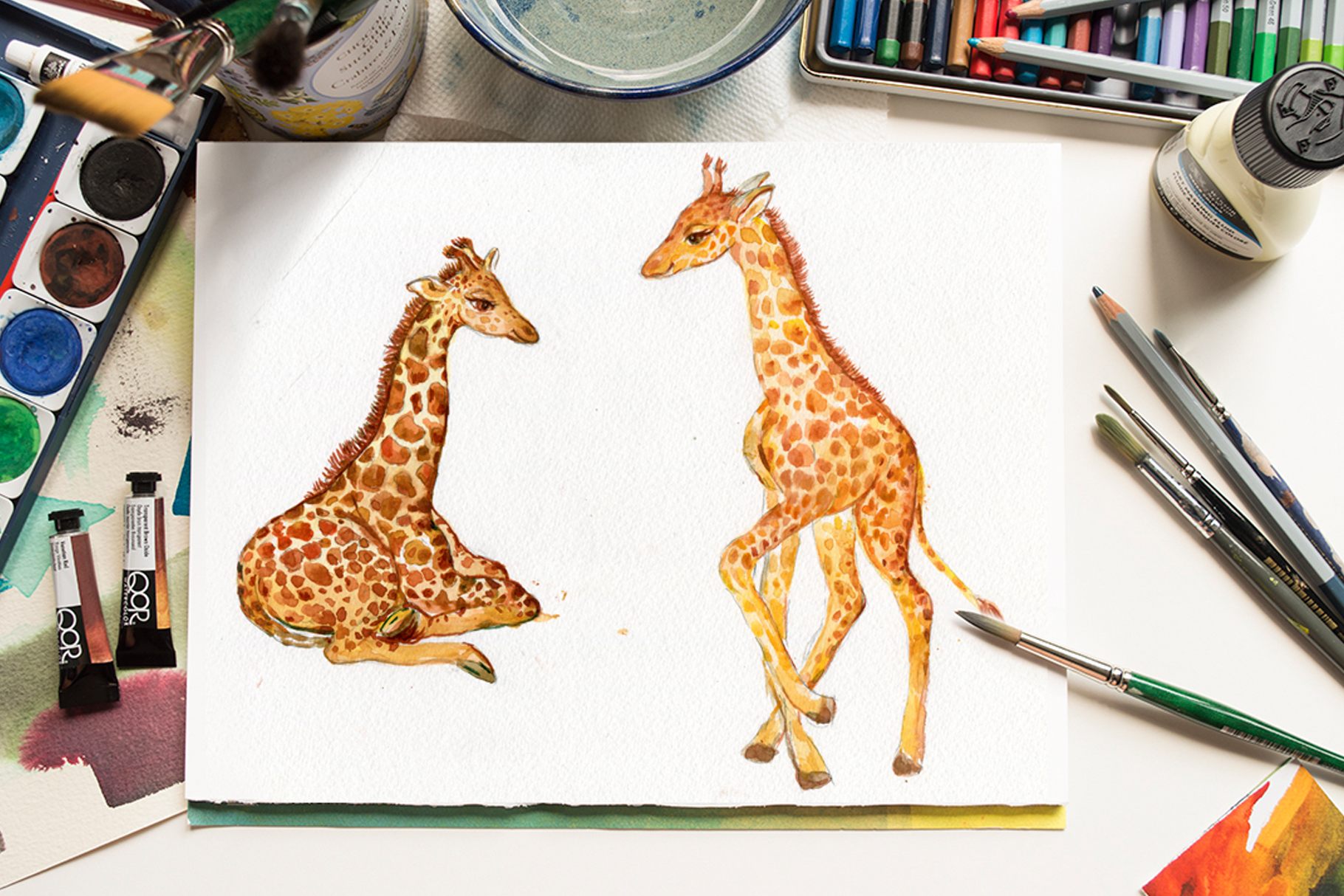 Giraffes. watercolor illustrations example image 6