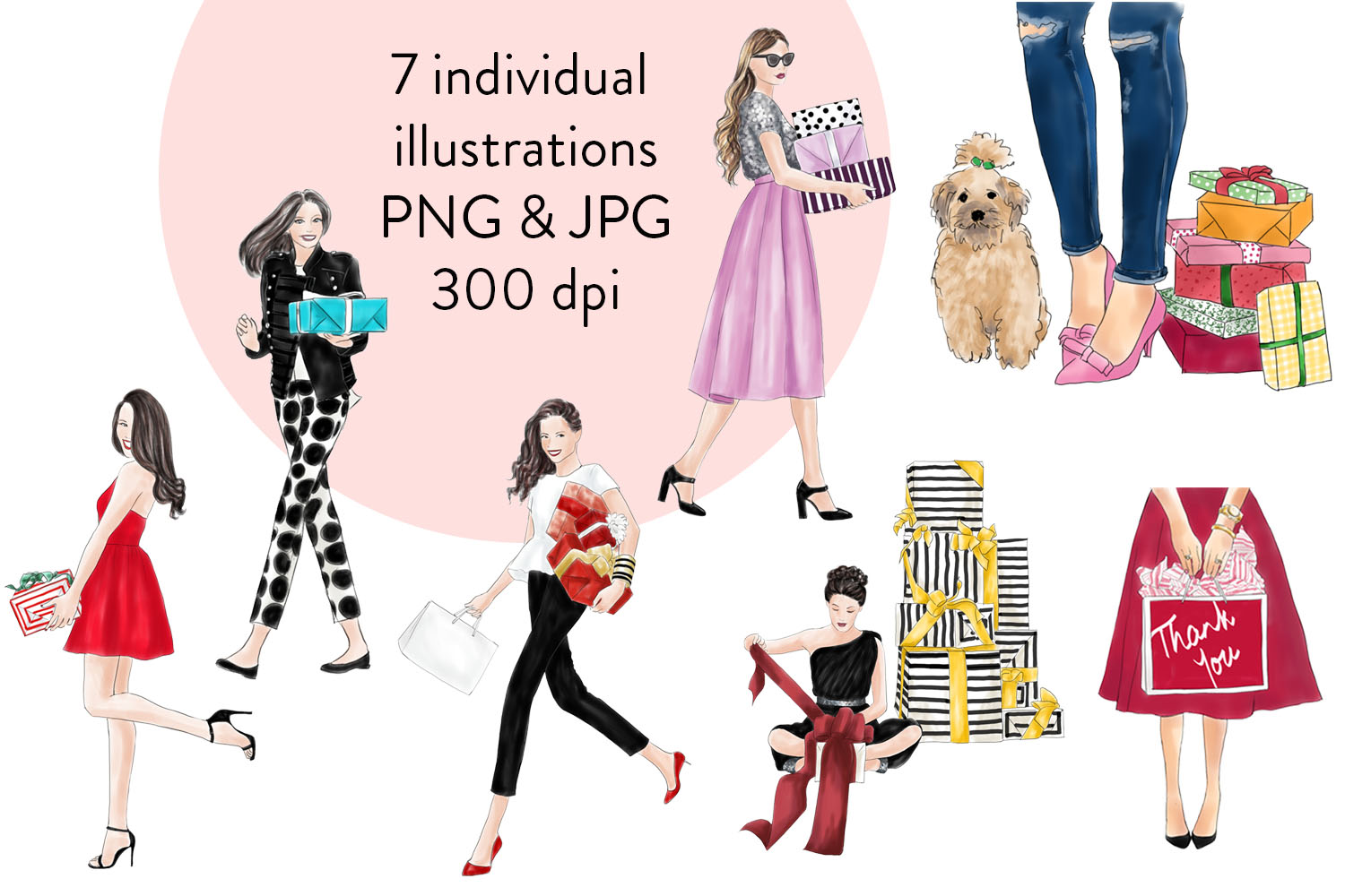 Girls with gifts fashion clipart example image 3