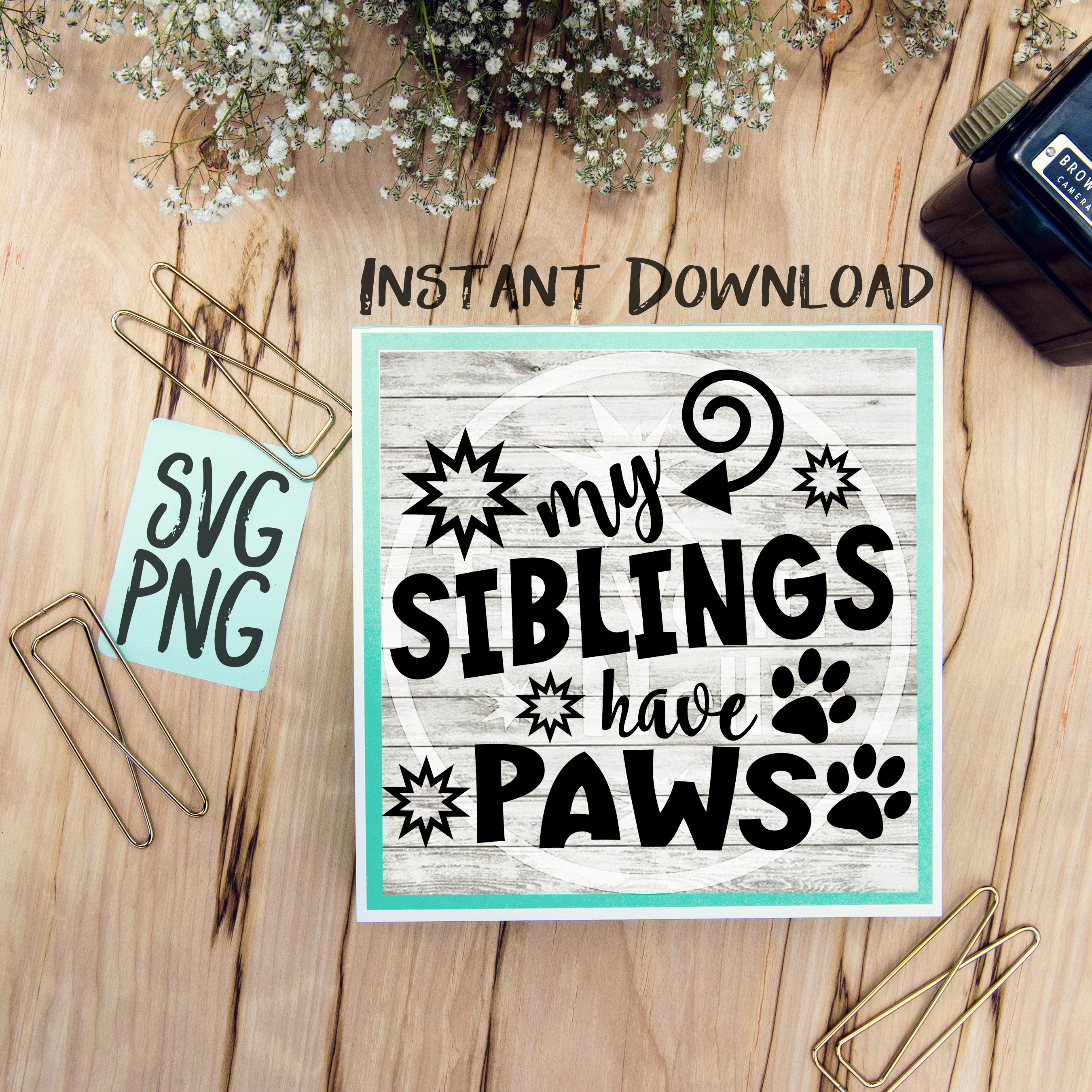 My Siblings Have Paws SVG Image Design for Vinyl Cutters Print DIY Shirt Design Brother Cricut Cameo Cutout Dog Brother Sister Child  example image 1