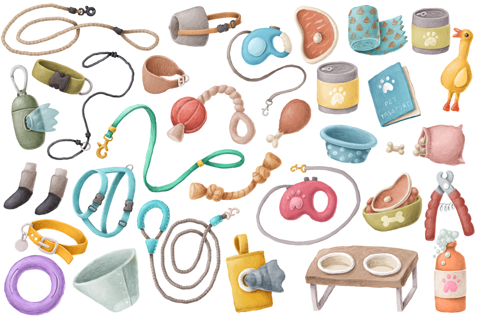 Dog items clipart collection example image 4