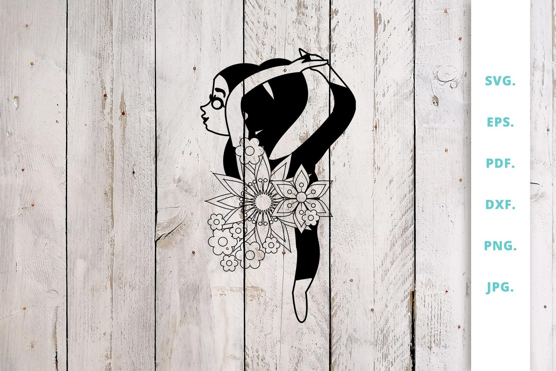 Floral Cute Yoga Girl Cut File 6