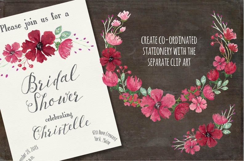 Watercolor floral wreath: Pink profusion example image 3