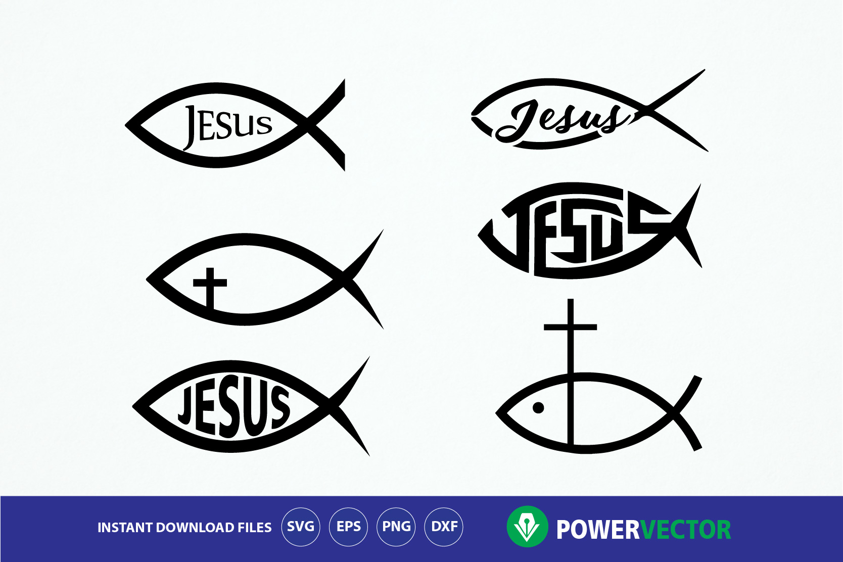 Fish Jesus Svg. Jesus Christ digital clipart - fish sign, God, Religious icon. Christian Fish Png, Eps, Dxf Cut Files for Cricut, Cameo example image 1