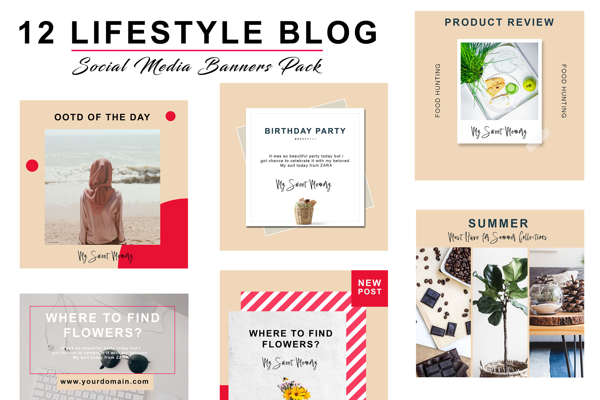 Peach Lifestyle Social Pack example image 2