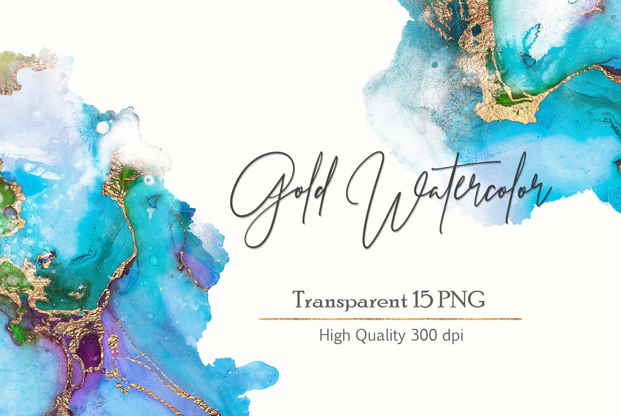 Gold Watercolor and Foil JPG-PNG Textures-BUNDLE example image 14