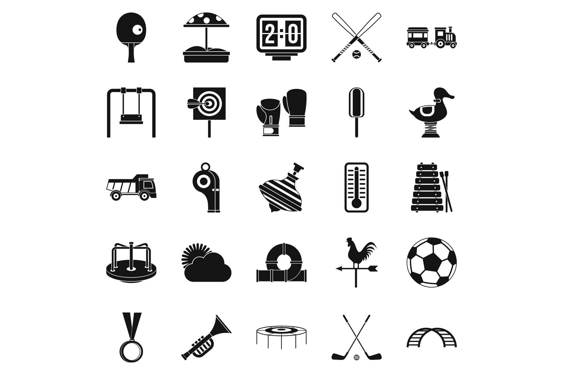 Children game icons set, simple style example image 1
