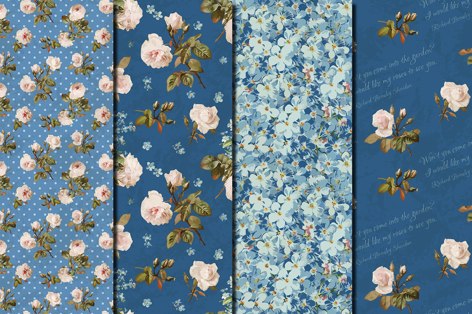 Shabby chic roses seamless patterns example image 3