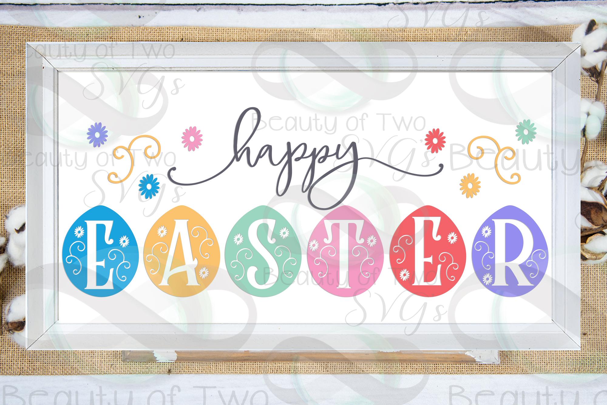 Happy Easter svg, Eggs svg, Farmhouse Easter svg, Easter svg example image 1