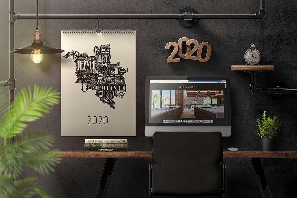 Wall Calendar In Loft Interior Mockup example image 1